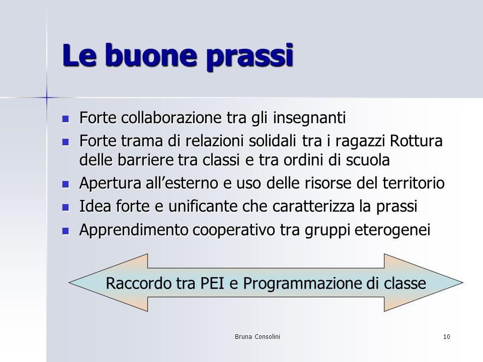 Bruna Consolini10 Le buone prassi Forte collaborazione tra gli insegnanti Forte collaborazione tra gli insegnanti Forte trama di relazioni solidali tr