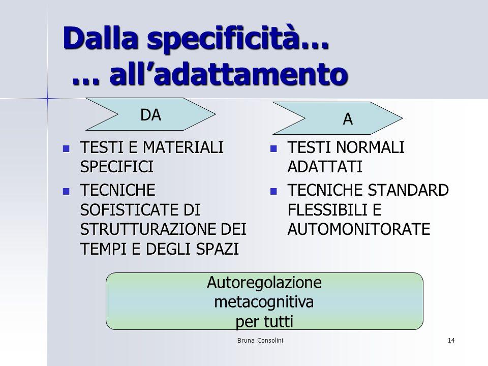 Bruna Consolini14 Dalla specificità… … alladattamento TESTI E MATERIALI SPECIFICI TESTI E MATERIALI SPECIFICI TECNICHE SOFISTICATE DI STRUTTURAZIONE D