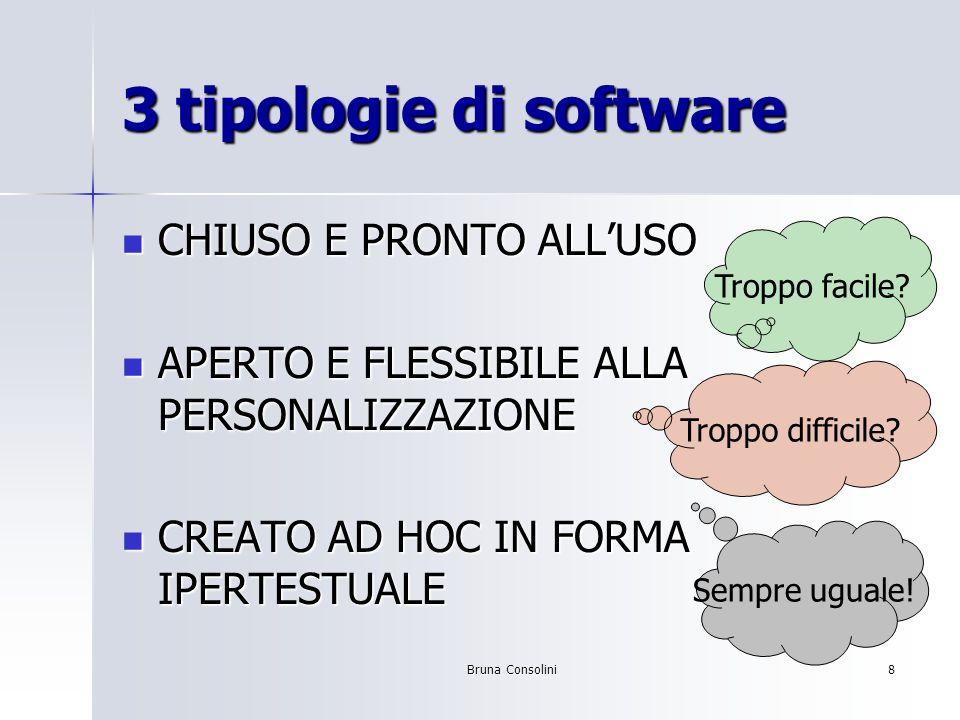 Bruna Consolini8 3 tipologie di software CHIUSO E PRONTO ALLUSO CHIUSO E PRONTO ALLUSO APERTO E FLESSIBILE ALLA PERSONALIZZAZIONE APERTO E FLESSIBILE