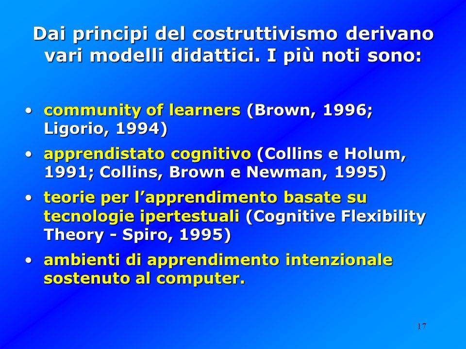 17 Dai principi del costruttivismo derivano vari modelli didattici. I più noti sono: community of learners (Brown, 1996; Ligorio, 1994) community of l