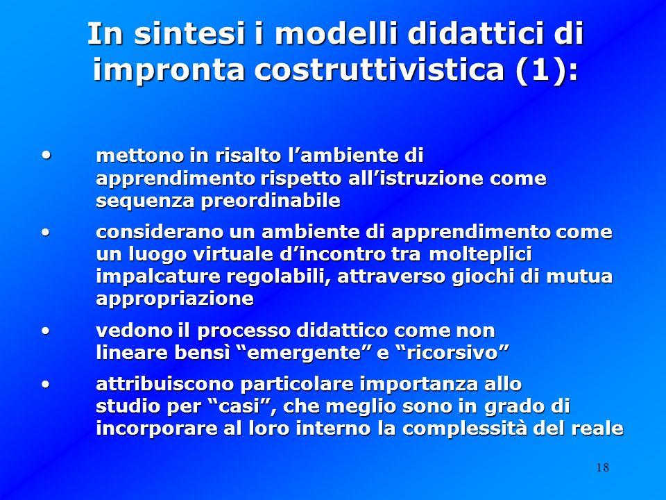 18 In sintesi i modelli didattici di impronta costruttivistica (1): mettono in risalto lambiente di apprendimento rispetto allistruzione come sequenza