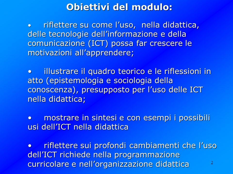 2 Obiettivi del modulo: riflettere su come luso, nella didattica, delle tecnologie dellinformazione e della comunicazione (ICT) possa far crescere le
