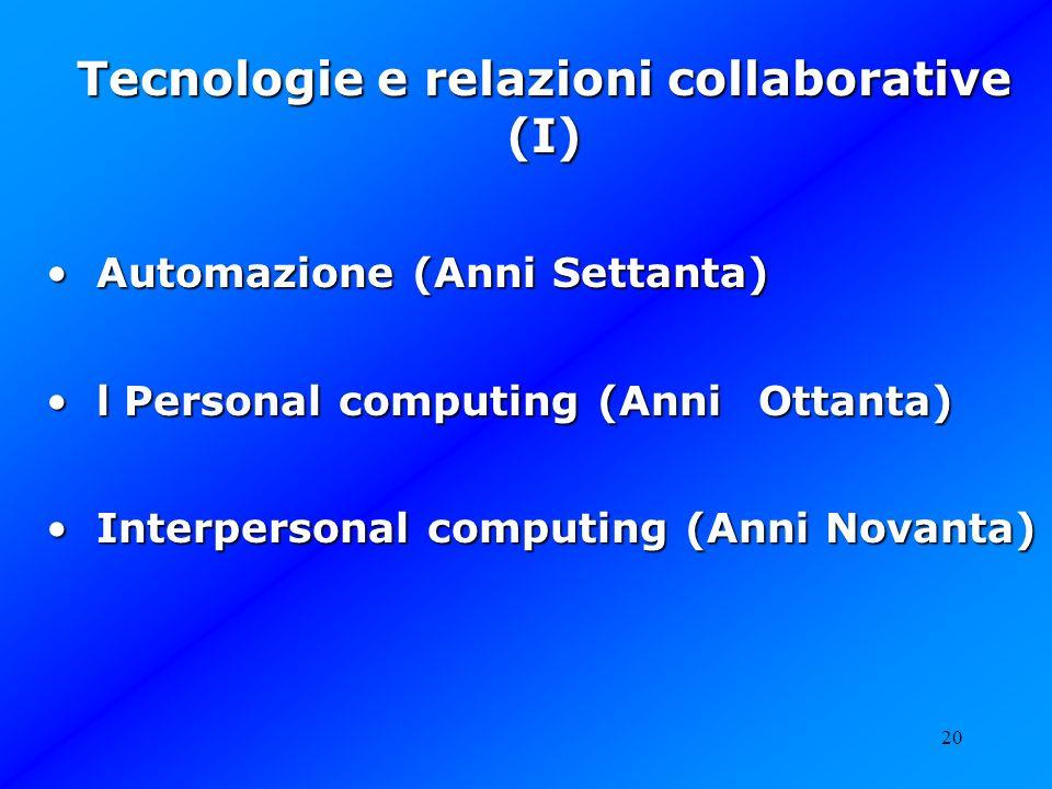 20 Tecnologie e relazioni collaborative (I) Automazione (Anni Settanta) Automazione (Anni Settanta) l Personal computing (Anni Ottanta) l Personal com