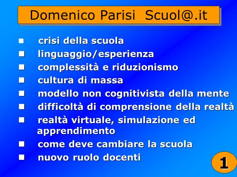 21 Domenico Parisi Scuol@.it crisi della scuola linguaggio/esperienza linguaggio/esperienza complessità e riduzionismo complessità e riduzionismo cult