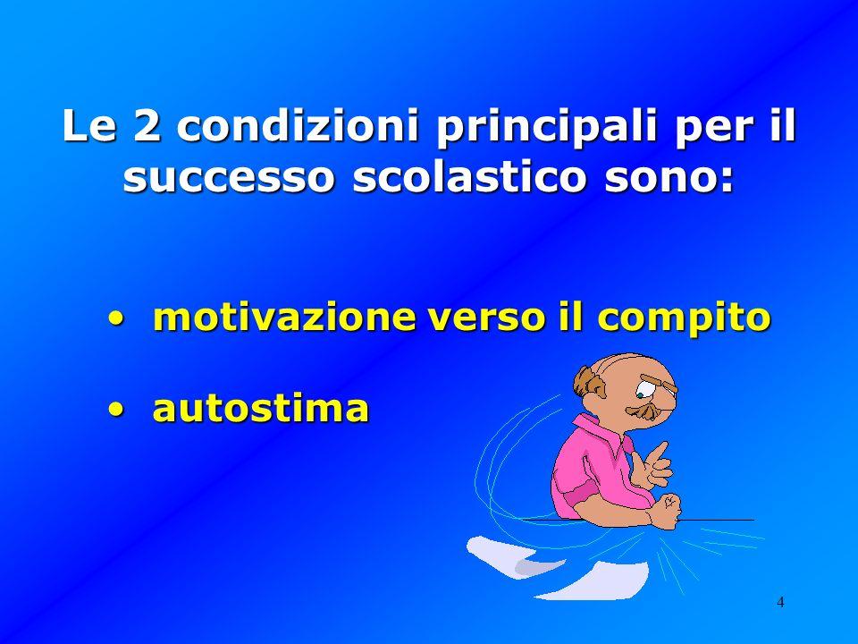 4 Le 2 condizioni principali per il successo scolastico sono: motivazione verso il compito motivazione verso il compito autostima autostima