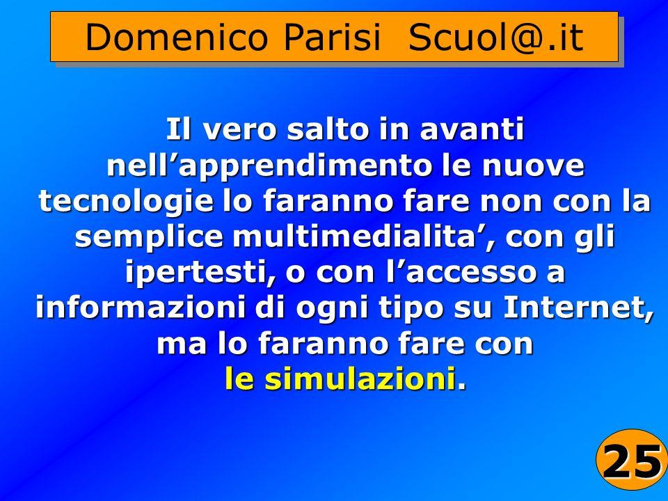 44 Domenico Parisi Scuol@.it Il vero salto in avanti nellapprendimento le nuove tecnologie lo faranno fare non con la semplice multimedialita, con gli