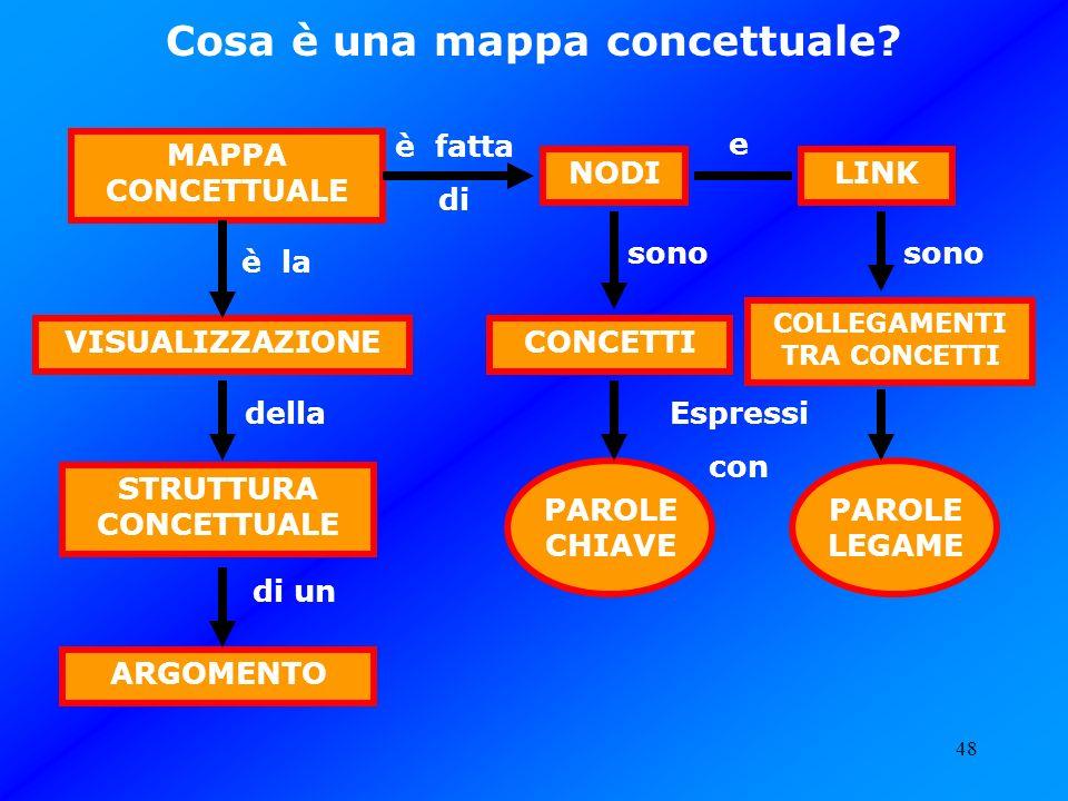 48 STRUTTURA CONCETTUALE VISUALIZZAZIONE MAPPA CONCETTUALE ARGOMENTO è la Espressi con di un è fatta di LINKNODI COLLEGAMENTI TRA CONCETTI CONCETTI PA