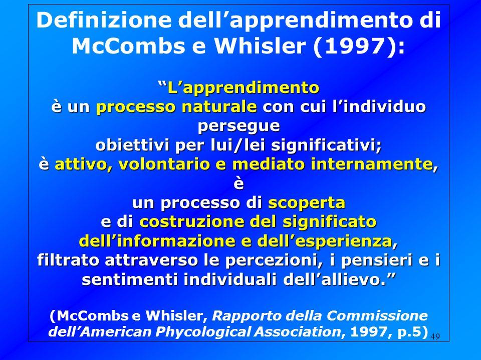 49 Definizione dellapprendimento di McCombs e Whisler (1997): LapprendimentoLapprendimento è un processo naturale con cui lindividuo persegue obiettiv
