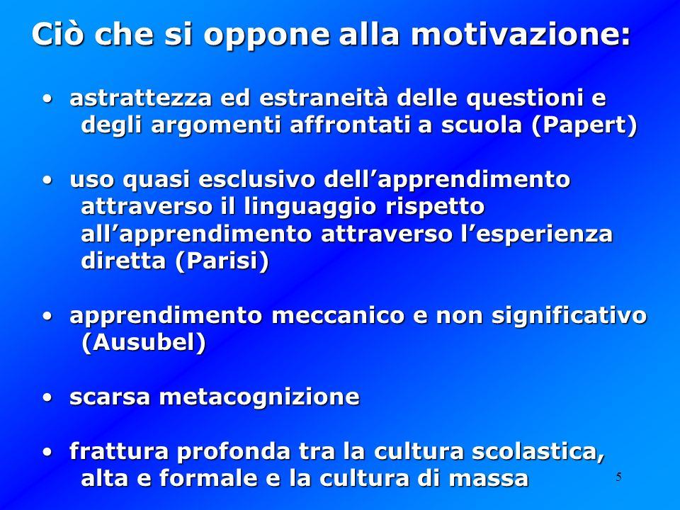 5 Ciò che si oppone alla motivazione: astrattezza ed estraneità delle questioni e degli argomenti affrontati a scuola (Papert) astrattezza ed estranei