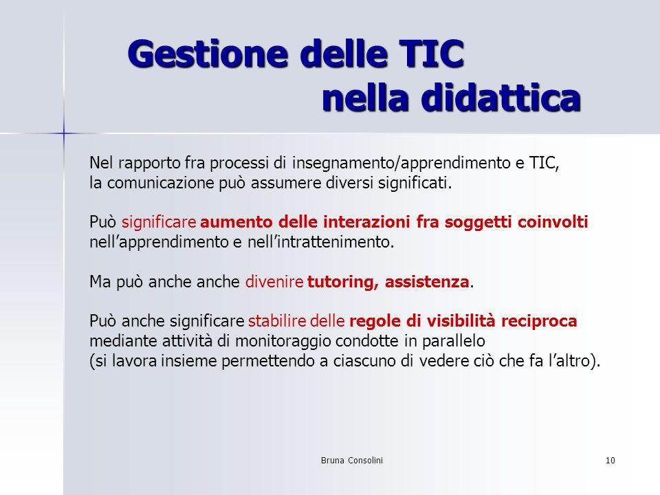 Bruna Consolini10 Gestione delle TIC nella didattica Gestione delle TIC nella didattica Nel rapporto fra processi di insegnamento/apprendimento e TIC,
