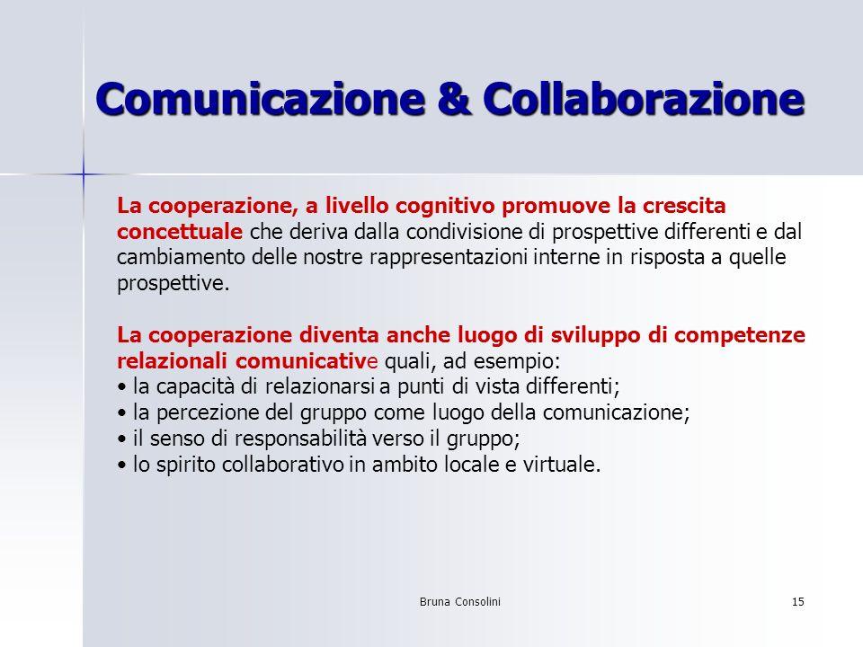 Bruna Consolini15 Comunicazione & Collaborazione La cooperazione, a livello cognitivo promuove la crescita concettuale che deriva dalla condivisione d