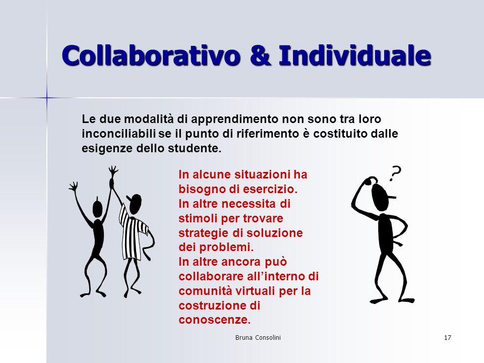 Bruna Consolini17 Collaborativo & Individuale Le due modalità di apprendimento non sono tra loro inconciliabili se il punto di riferimento è costituit