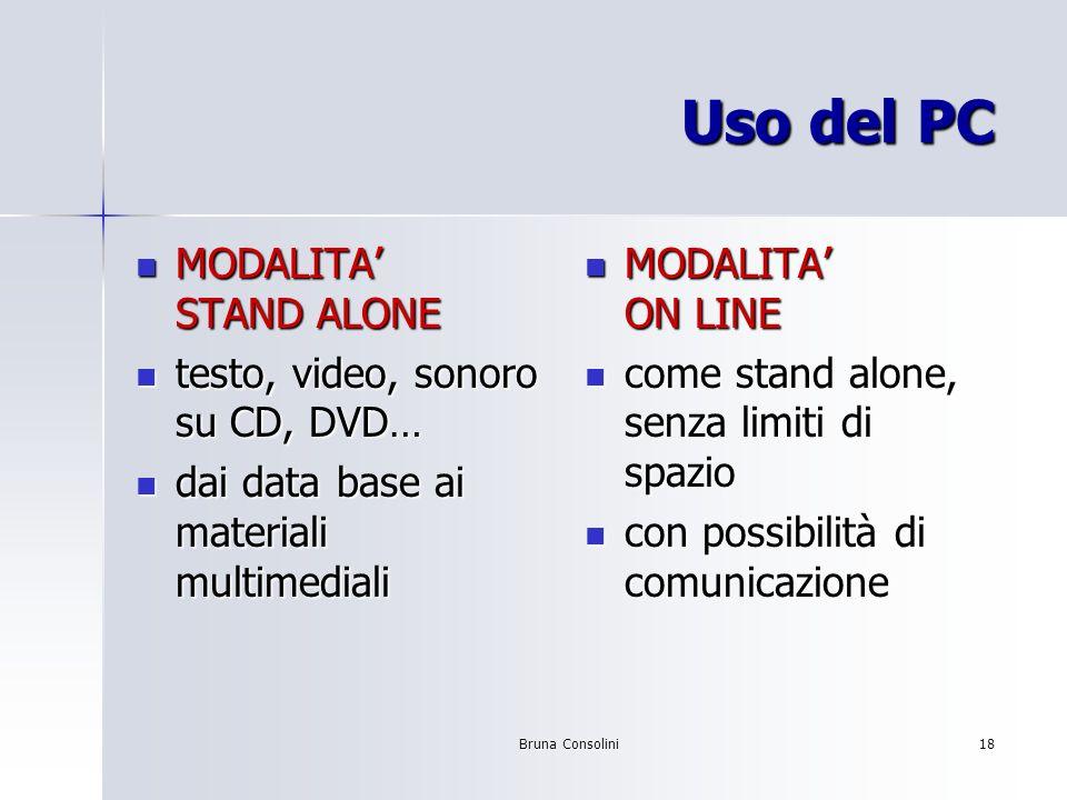 Bruna Consolini18 Uso del PC MODALITA STAND ALONE MODALITA STAND ALONE testo, video, sonoro su CD, DVD… testo, video, sonoro su CD, DVD… dai data base