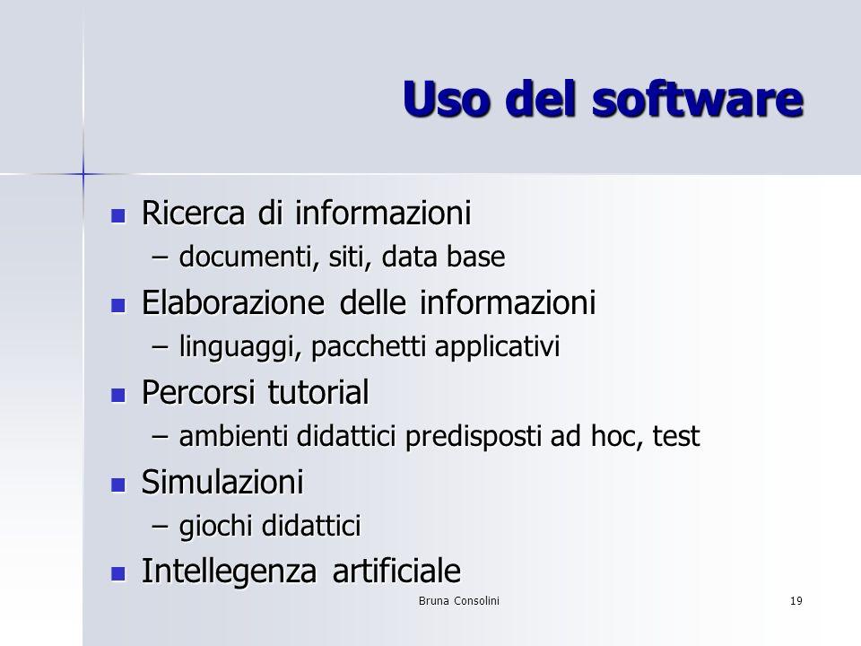 Bruna Consolini19 Uso del software Ricerca di informazioni Ricerca di informazioni –documenti, siti, data base Elaborazione delle informazioni Elabora