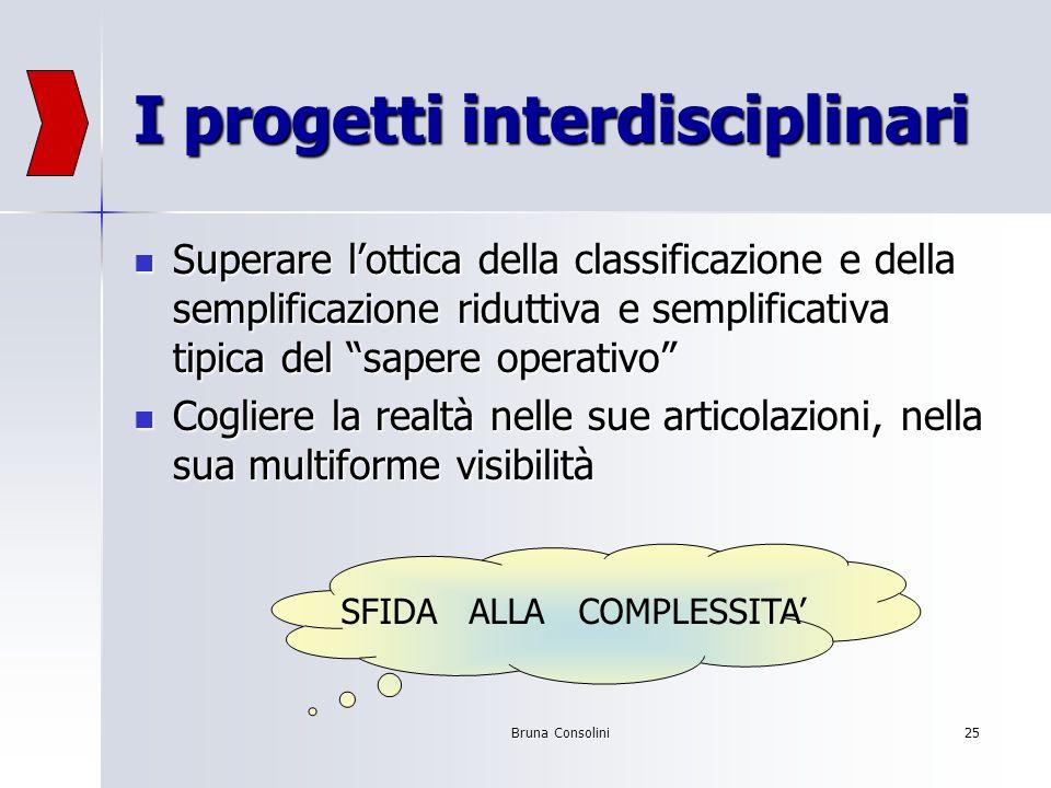 Bruna Consolini25 I progetti interdisciplinari Superare lottica della classificazione e della semplificazione riduttiva e semplificativa tipica del sa