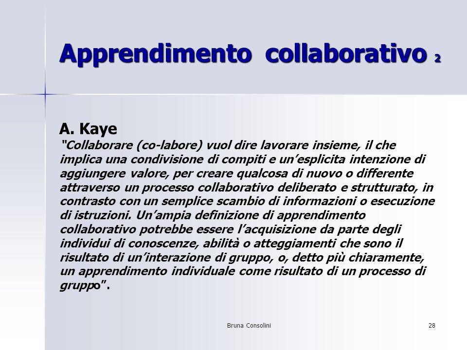Bruna Consolini28 Apprendimento collaborativo 2 A. Kaye Collaborare (co-labore) vuol dire lavorare insieme, il che implica una condivisione di compiti