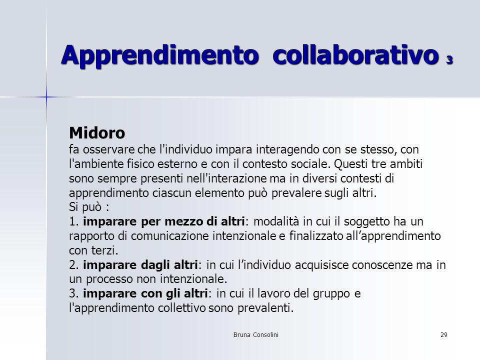 Bruna Consolini29 Apprendimento collaborativo 3 Midoro fa osservare che l'individuo impara interagendo con se stesso, con l'ambiente fisico esterno e
