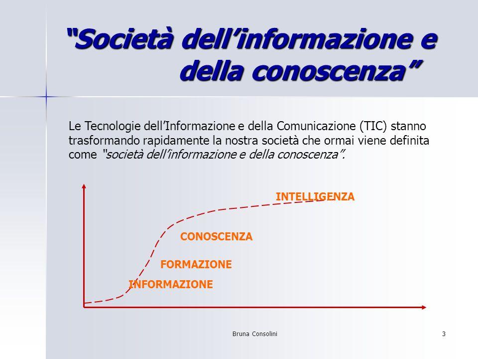 Bruna Consolini3 Società dellinformazione e della conoscenza Le Tecnologie dellInformazione e della Comunicazione (TIC) stanno trasformando rapidament