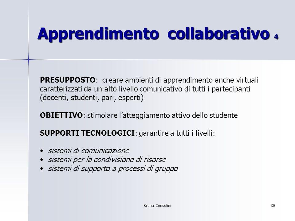 Bruna Consolini30 Apprendimento collaborativo 4 PRESUPPOSTO: creare ambienti di apprendimento anche virtuali caratterizzati da un alto livello comunic