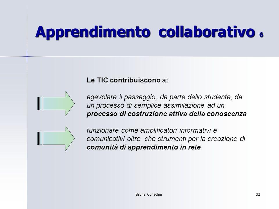 Bruna Consolini32 Apprendimento collaborativo 6 Le TIC contribuiscono a: agevolare il passaggio, da parte dello studente, da un processo di semplice a