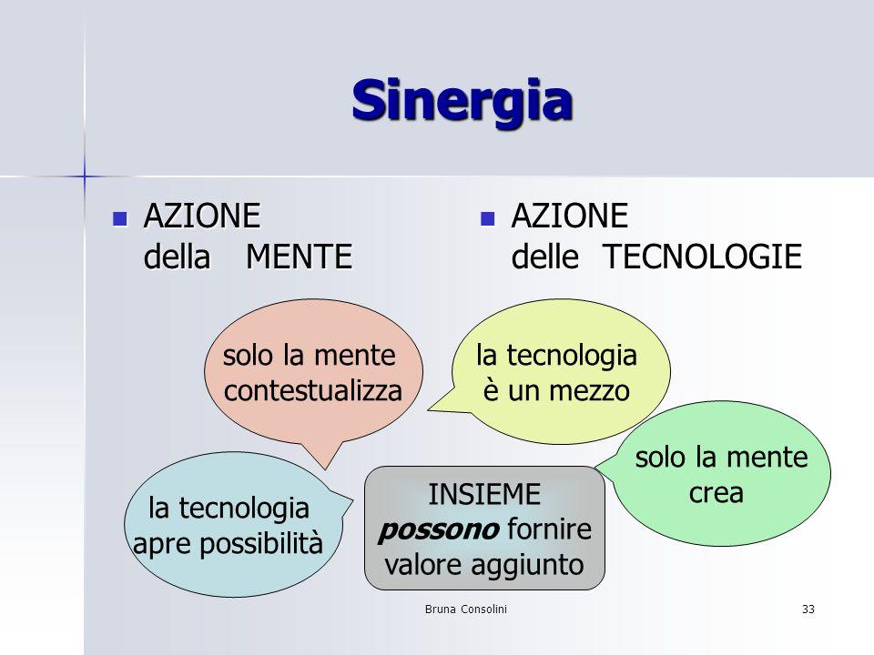 Bruna Consolini33 Sinergia AZIONE della MENTE AZIONE della MENTE AZIONE delle TECNOLOGIE AZIONE delle TECNOLOGIE la tecnologia è un mezzo solo la ment