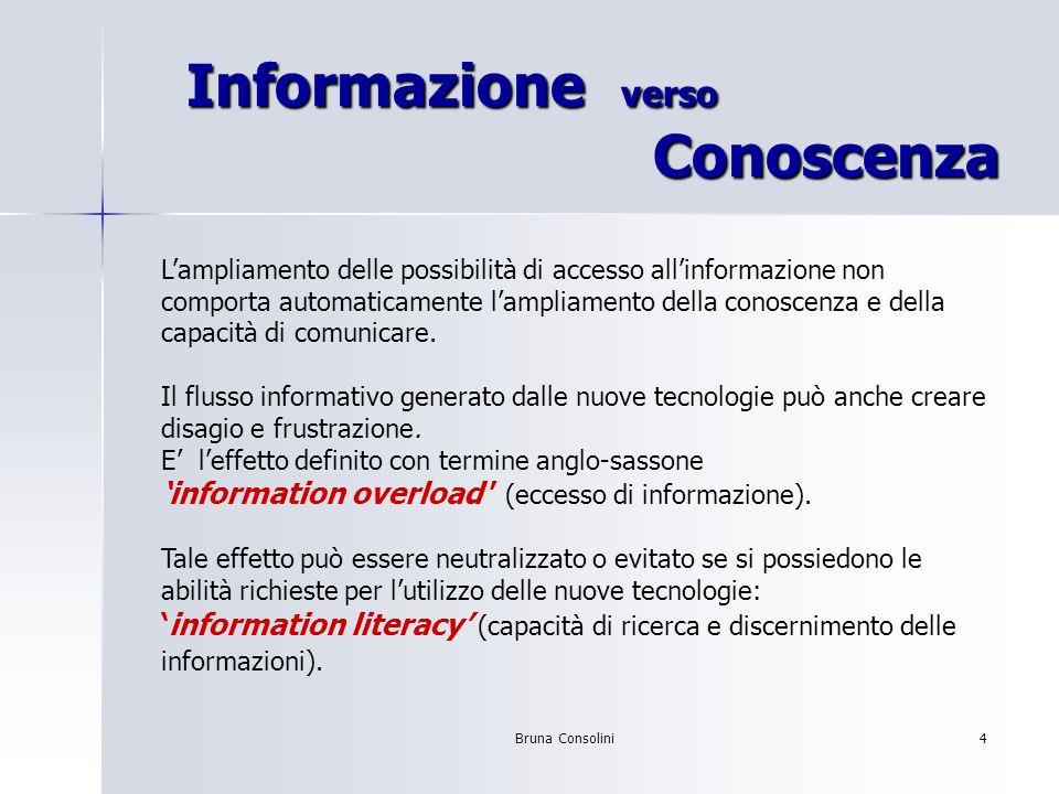 Bruna Consolini4 Informazione verso Conoscenza Informazione verso Conoscenza Lampliamento delle possibilità di accesso allinformazione non comporta au