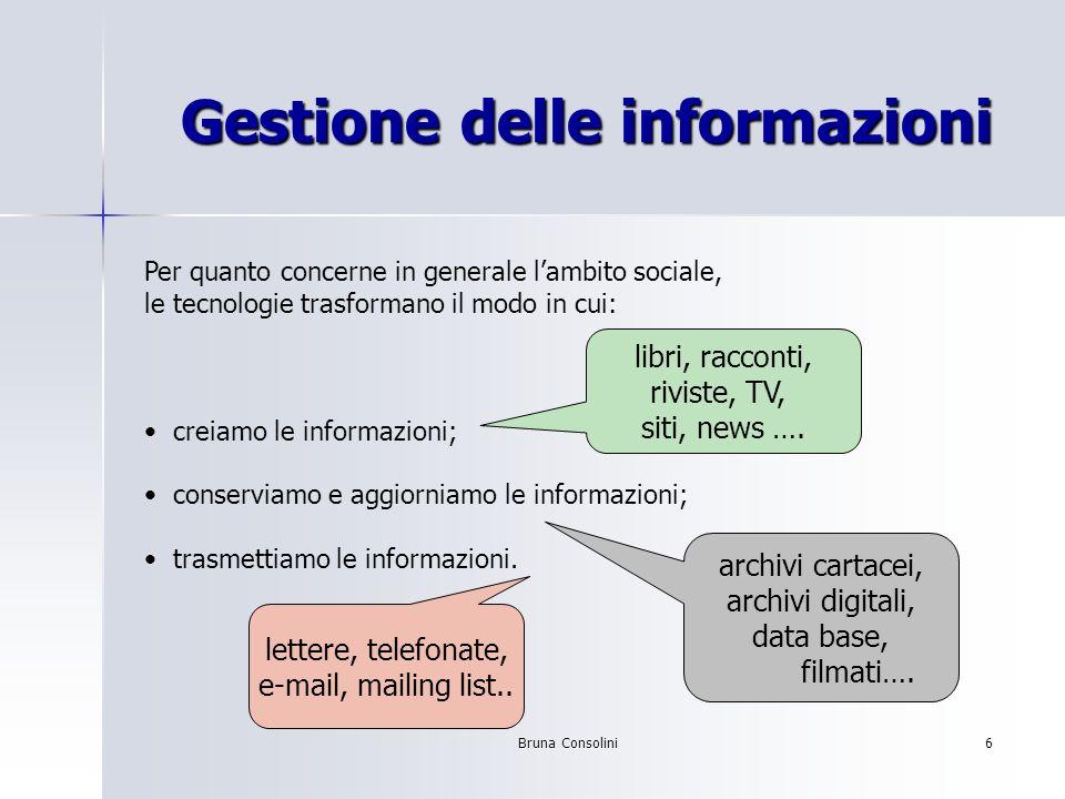 Bruna Consolini6 Gestione delle informazioni Per quanto concerne in generale lambito sociale, le tecnologie trasformano il modo in cui: creiamo le inf