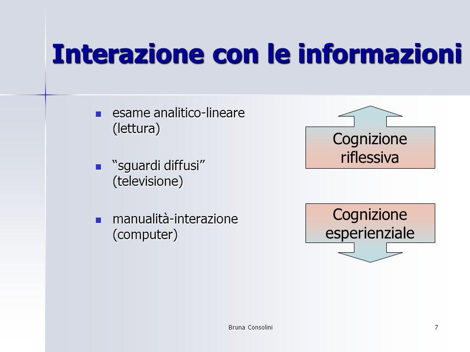 Bruna Consolini7 Interazione con le informazioni esame analitico-lineare (lettura) esame analitico-lineare (lettura) sguardi diffusi (televisione) sgu