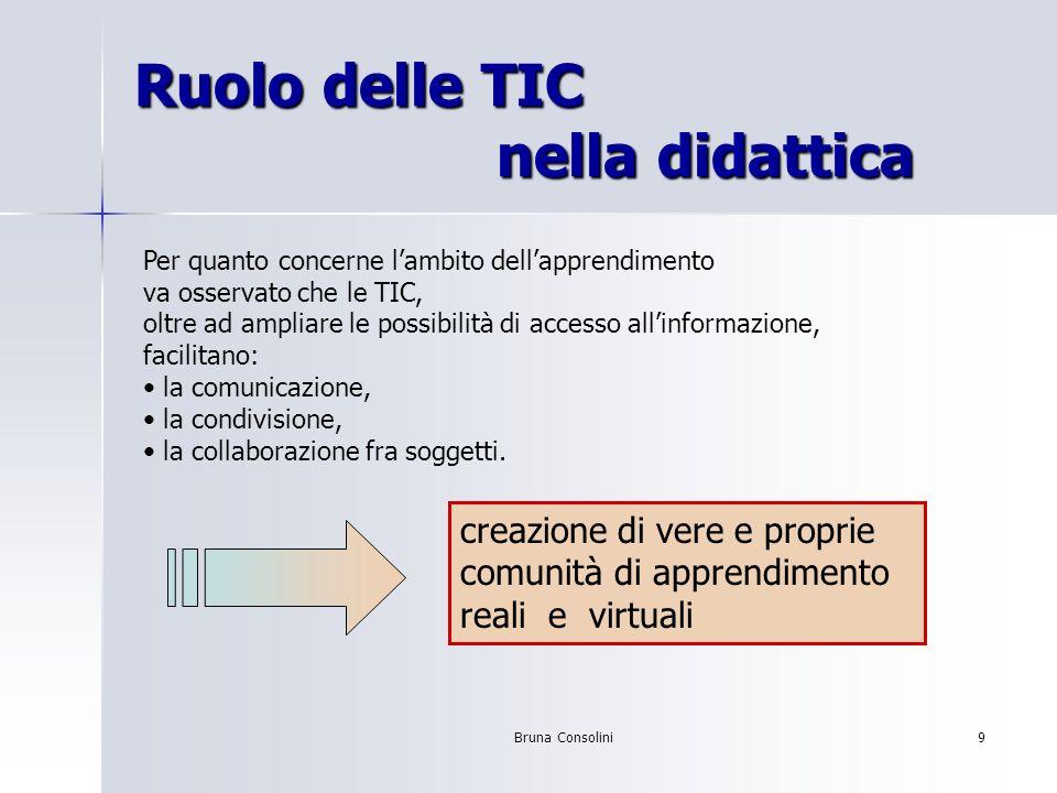 Bruna Consolini9 Ruolo delle TIC nella didattica Per quanto concerne lambito dellapprendimento va osservato che le TIC, oltre ad ampliare le possibili