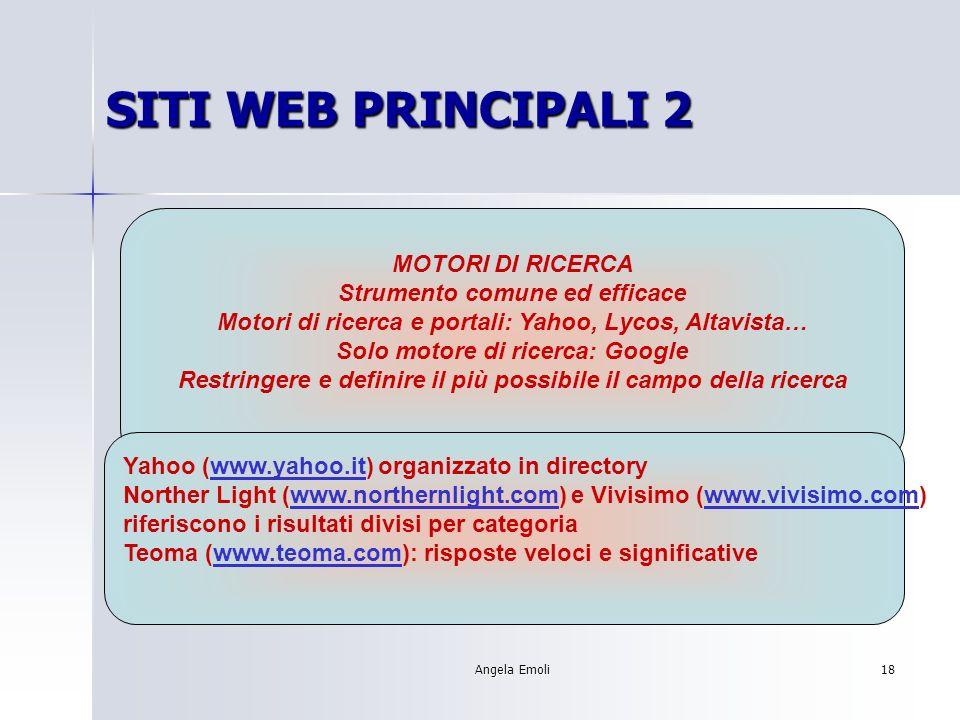 Angela Emoli17 SITI WEB PRINCIPALI 1 FONTI COLLAUDATE: INDIRE: www.indire.itwww.indire.it WEBSCUOLA: http://webscuola.tin.ithttp://webscuola.tin.it VALUTAZIONE DI UN SITO: attendibilità autorevolezza aggiornamento ecc.