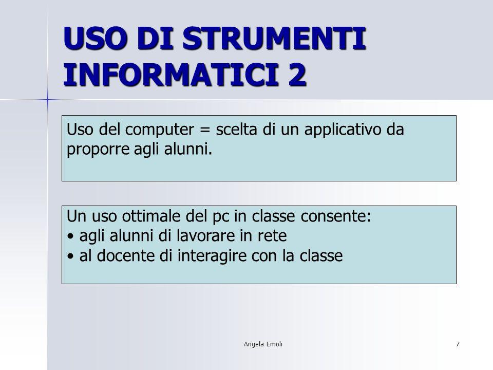Angela Emoli6 USO DI STRUMENTI INFORMATICI 1 Obiettivi: Analizzare buone pratiche di uso degli strumenti informatici nella propria disciplina e progettare un intervento.