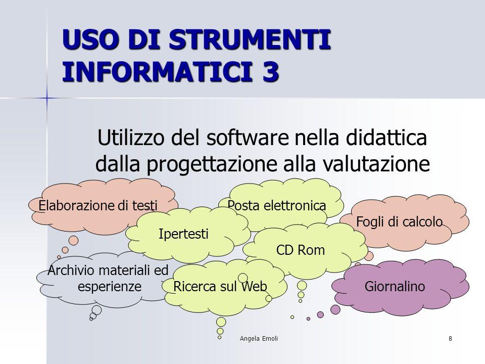 Angela Emoli7 USO DI STRUMENTI INFORMATICI 2 Uso del computer = scelta di un applicativo da proporre agli alunni.