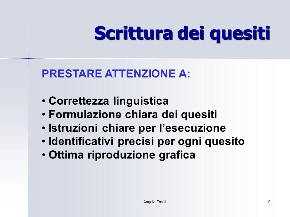 Angela Emoli10 Scrittura dei quesiti PRESTARE ATTENZIONE A: Correttezza linguistica Formulazione chiara dei quesiti Istruzioni chiare per lesecuzione