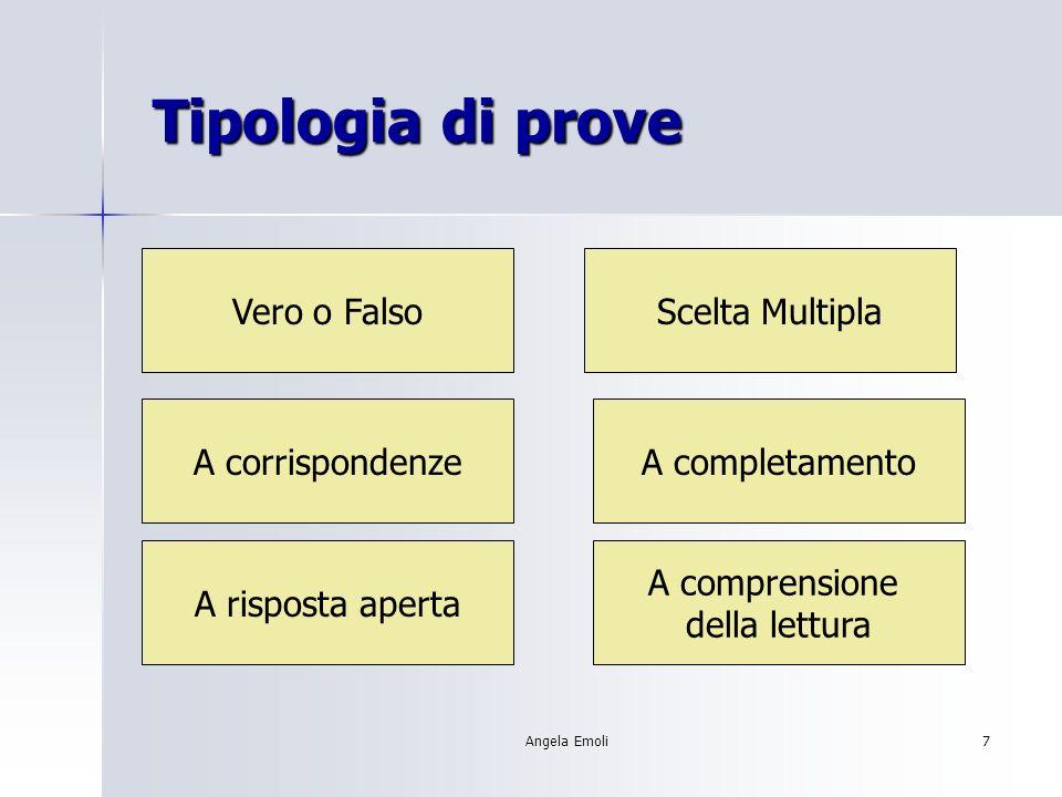 Angela Emoli7 Tipologia di prove Tipologia di prove Vero o FalsoScelta Multipla A corrispondenzeA completamento A risposta aperta A comprensione della
