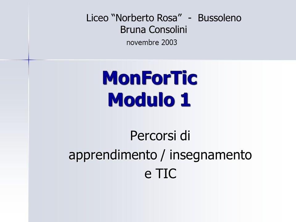 MonForTic Modulo 1 Percorsi di apprendimento / insegnamento e TIC Liceo Norberto Rosa - Bussoleno Bruna Consolini novembre 2003