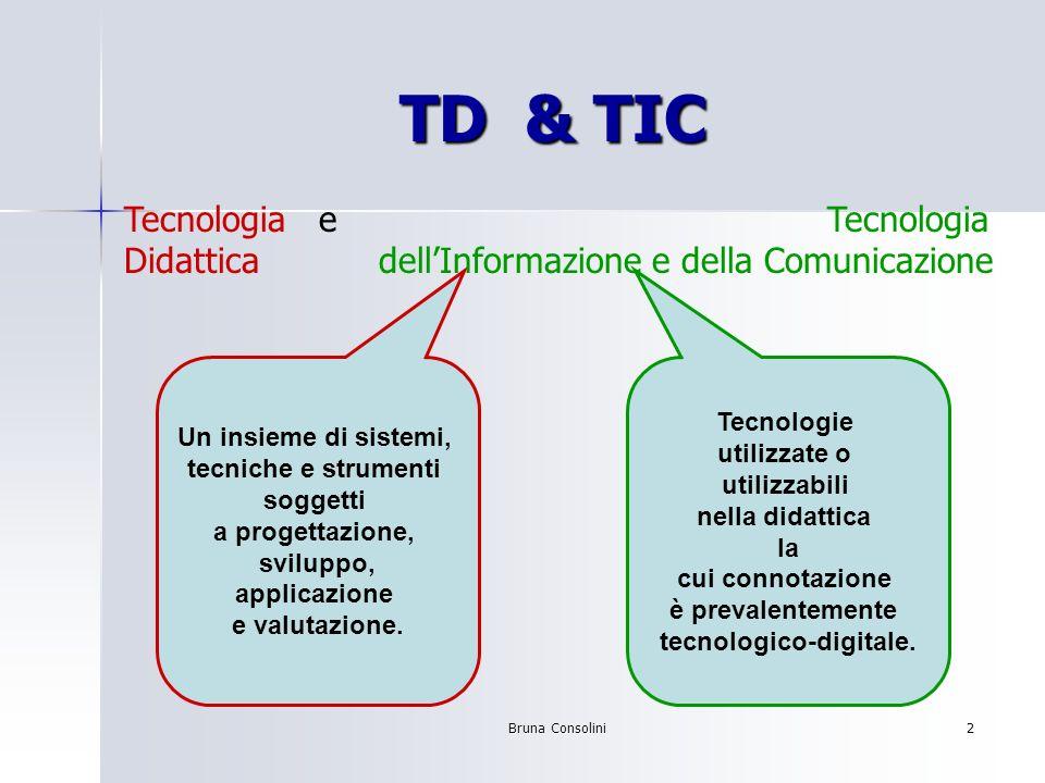 Bruna Consolini2 TD & TIC Un insieme di sistemi, tecniche e strumenti soggetti a progettazione, sviluppo, applicazione e valutazione.