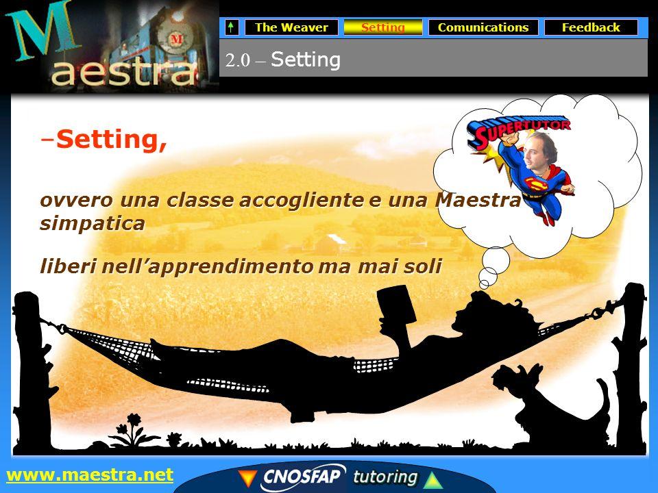 SettingsComunicationsFeedback www.maestra.net 2.0 – Setting Setting –Setting, ovvero una classe accogliente e una Maestra simpatica liberi nellapprendimento ma mai soli