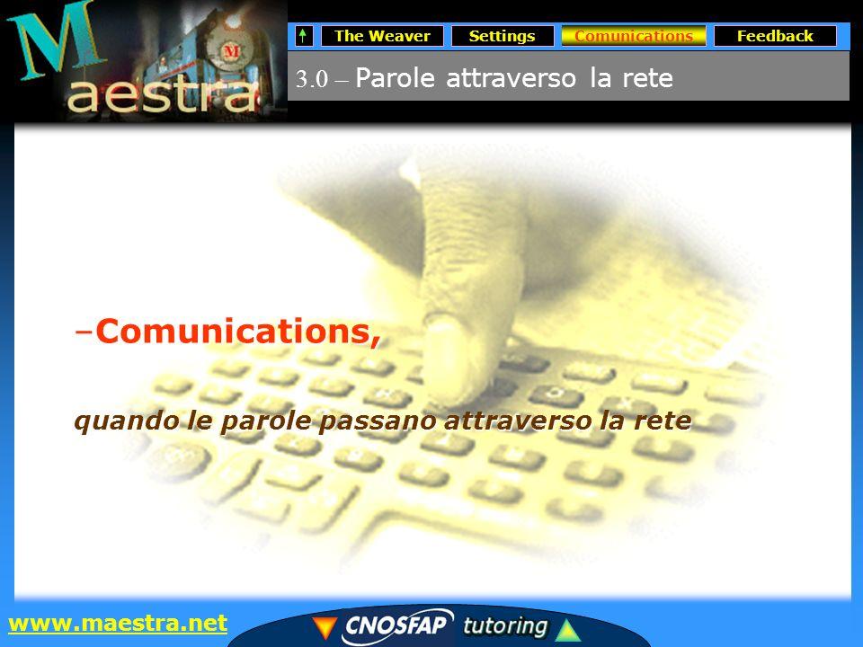The WeaverSettingsComunicationsFeedback www.maestra.net 3.0 – Parole attraverso la rete Comunications –Comunications, quando le parole passano attraverso la rete