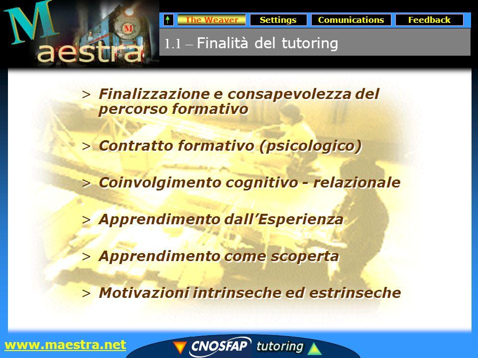 SettingsComunicationsFeedback www.maestra.net 1.2 – Ruoli del Tutor on-line The Weaver –Tutor personale –Tutor in assistenza –Tutor darea