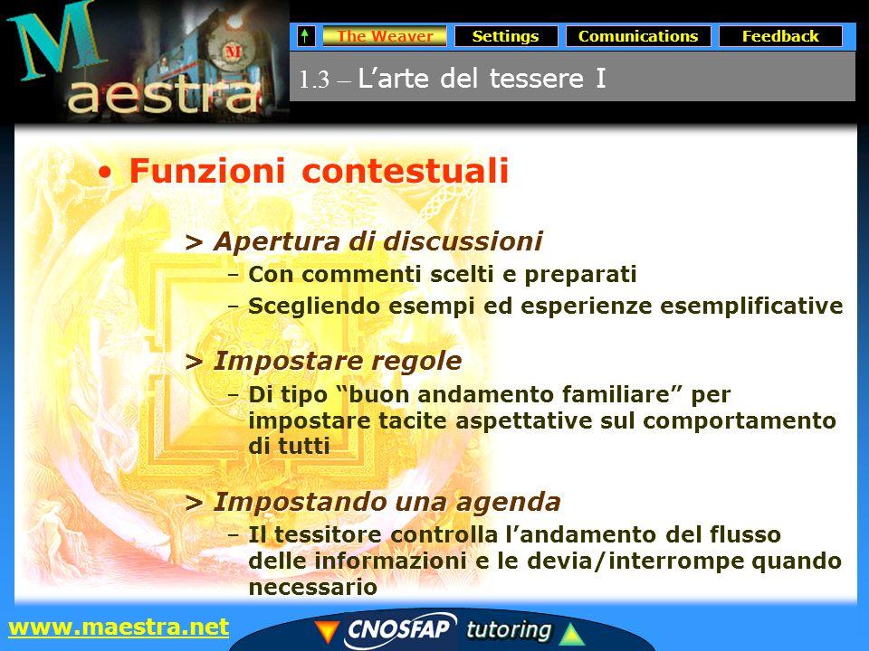 The WeaverSettingsComunicationsFeedback www.maestra.net 3.4 – Dinamiche della comunicazione Comunications