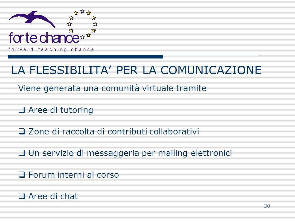 30 LA FLESSIBILITA PER LA COMUNICAZIONE Viene generata una comunità virtuale tramite Aree di tutoring Zone di raccolta di contributi collaborativi Un