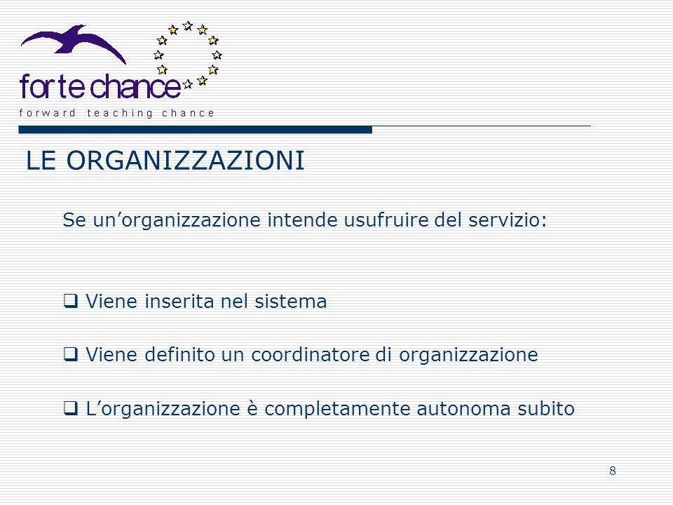 8 LE ORGANIZZAZIONI Se unorganizzazione intende usufruire del servizio: Viene inserita nel sistema Viene definito un coordinatore di organizzazione Lo