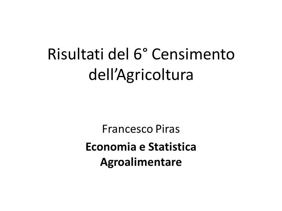 Risultati del 6° Censimento dellAgricoltura Francesco Piras Economia e Statistica Agroalimentare