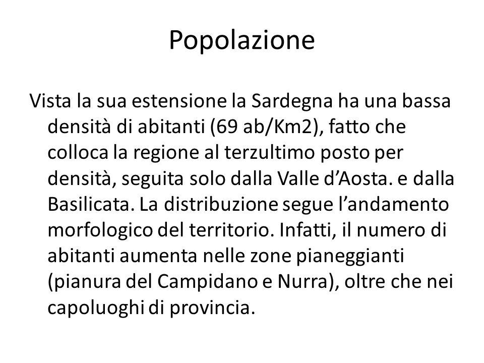 Popolazione Vista la sua estensione la Sardegna ha una bassa densità di abitanti (69 ab/Km2), fatto che colloca la regione al terzultimo posto per densità, seguita solo dalla Valle dAosta.