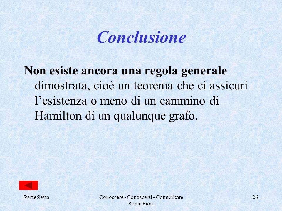 Parte SestaConoscere - Conoscersi - Comunicare Sonia Fiori 26 Conclusione Non esiste ancora una regola generale dimostrata, cioè un teorema che ci ass