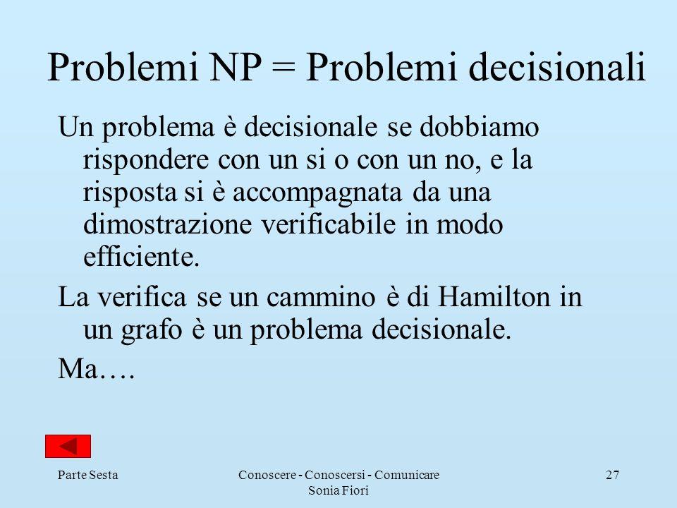 Parte SestaConoscere - Conoscersi - Comunicare Sonia Fiori 27 Problemi NP = Problemi decisionali Un problema è decisionale se dobbiamo rispondere con