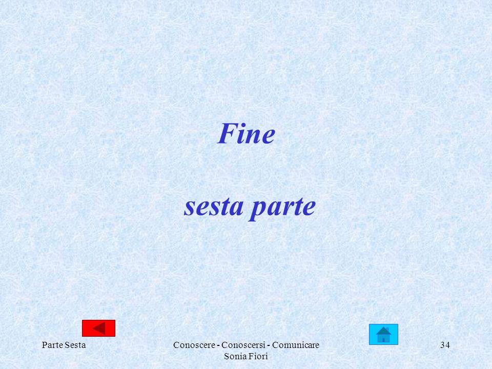 Parte SestaConoscere - Conoscersi - Comunicare Sonia Fiori 34 Fine sesta parte