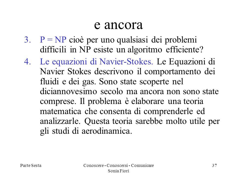 Parte SestaConoscere - Conoscersi - Comunicare Sonia Fiori 37 e ancora 3.P = NP cioè per uno qualsiasi dei problemi difficili in NP esiste un algoritm