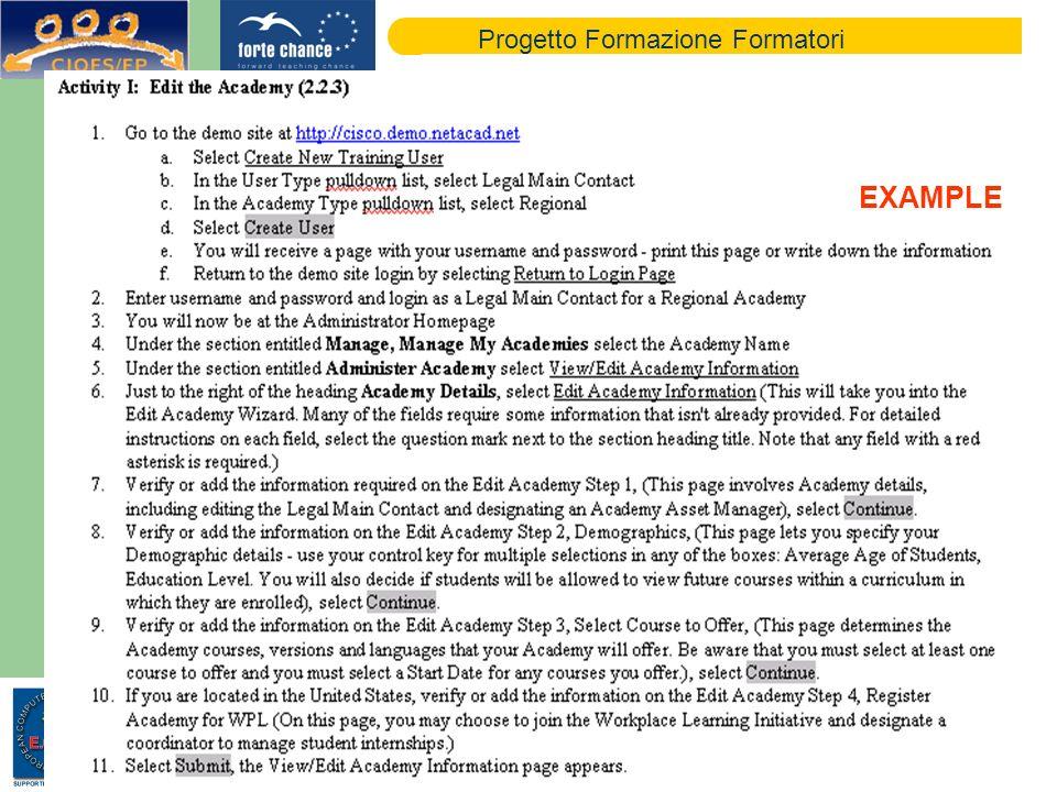 Progetto Formazione Formatori EXAMPLE