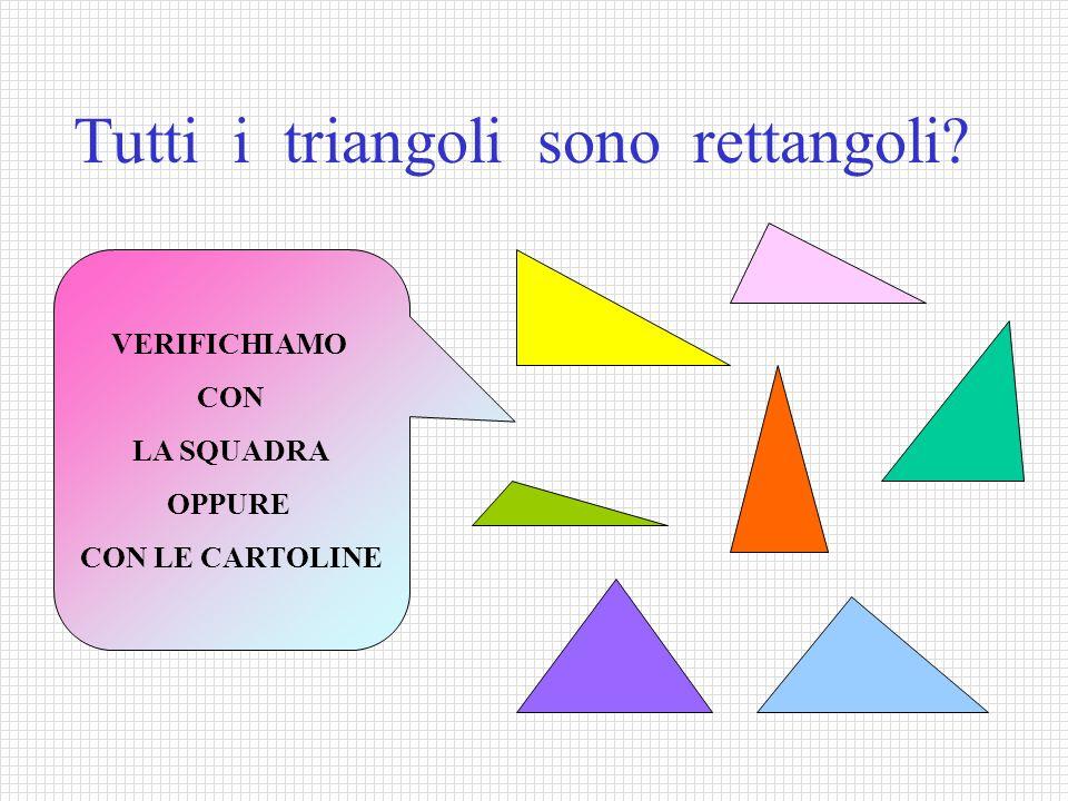 Tutti i triangoli sono rettangoli? VERIFICHIAMO CON LA SQUADRA OPPURE CON LE CARTOLINE